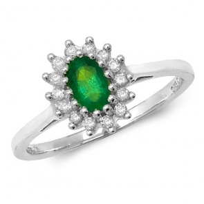 Oval Emerald Ring with Diamond Surround, 0.49ct, 9k White Gold