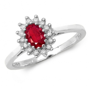 Oval Ruby Ring with Diamond surround, 0.58ct, 9k White Gold