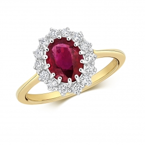 Oval Ruby Ring with Diamond Surround, 1.78ct, 9k Gold