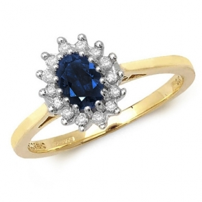 Oval Sapphire Ring with Diamond Surround, 0.68ct, 9k Gold