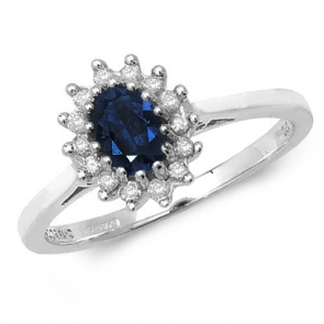 Oval Sapphire Ring with Diamond Surround, 0.68ct, 9k White Gold