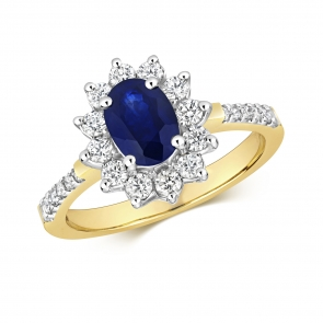 Oval Sapphire Ring with Diamond Surround, 1.47ct, 9k Gold