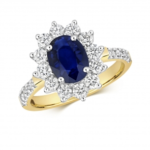 Oval Sapphire Ring with Diamond Surround, 2.32ct, 9k Gold