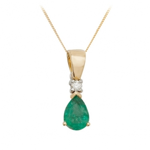 Pear Shape Emerald & Diamond Pendant Necklace, 9k Gold