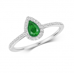 Petite Emerald & Diamond Pear Shape Ring, 9k White Gold