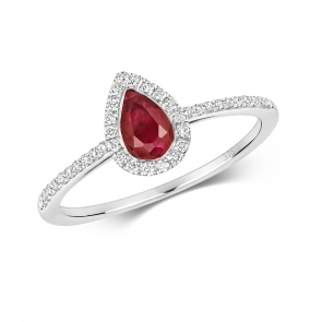 Petite Ruby & Diamond Pear Shape Ring, 9k White Gold