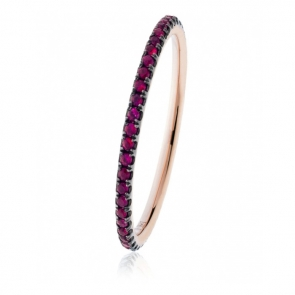 Petite Natural Ruby Full Eternity Ring, 18k Rose Gold