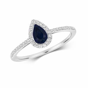 Petite Sapphire & Diamond Pear Shape Ring, 9k White Gold