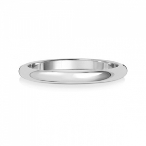 Platinum Wedding Ring D-Shape, 2mm