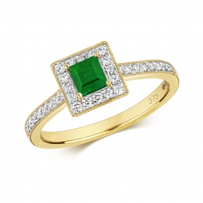 Princess Emerald & Diamond Ring 0.64ct. 9k Gold