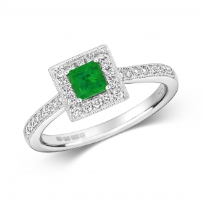 Princess Emerald & Diamond Ring 0.64ct. 9k White Gold