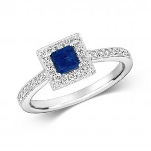 Princess Sapphire & Diamond Ring 0.75ct. 9k White Gold