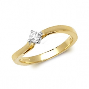 Diamond Wave Engagement Ring 0.15ct, 9k Gold