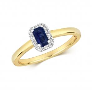 Sapphire & Diamond Ring, Emerald Cut 0.46ct, 9k Gold