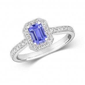 Tanzanite Ring with Diamond surround, 0.88ct, 9k White Gold