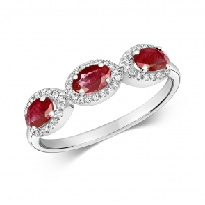Ruby & Diamond Trilogy Ring 1.25ct, White Gold