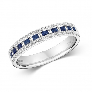 Sapphire & Diamond Half Eternity Ring 0.55ct, 9k White Gold