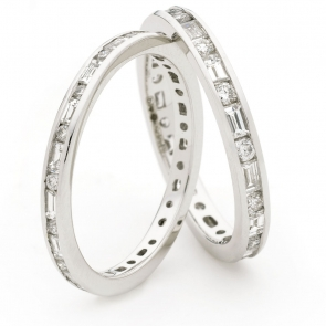 Round & Baguette Diamond Eternity Ring 0.60ct, 18k White Gold
