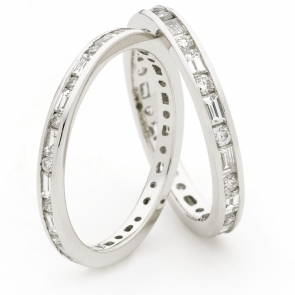 Round & Baguette Diamond Eternity Ring 0.95ct, 18k White Gold