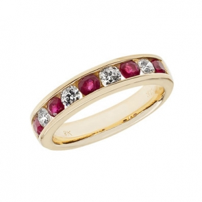 Ruby & Diamond Half Eternity Ring 1.07ct, 9k Gold