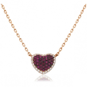 Ruby & Diamond Pave Heart Necklace Rose Gold