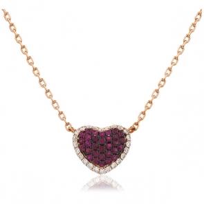 Ruby & Diamond Pave Heart Necklace Rose Gold