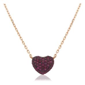 Ruby Pave Heart Necklace Rose Gold, 18k Rose Gold