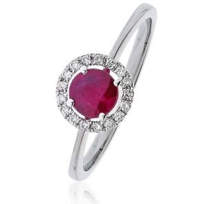 Ruby Ring With Diamond Halo 0.75ct, 18k White Gold