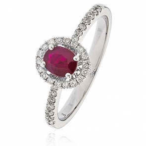 Ruby Ring With Diamond Oval Surround 0.70ct, 18k White Gold