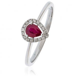 Ruby Ring With Diamond Pear Surround 0.50ct, 18k White Gold
