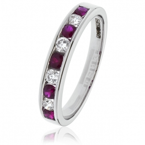 Diamond & Ruby 9 Stone Half Eternity Ring 0.50ct, 18k White Gold