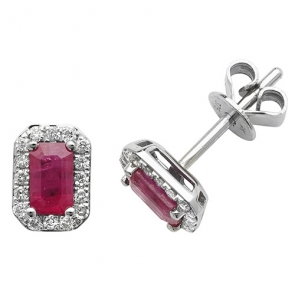 Ruby & Diamond Earrings 0.92ct, 9k White Gold