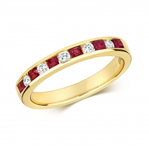 Ruby & Diamond Half Eternity Ring 0.58ct, 9k Gold