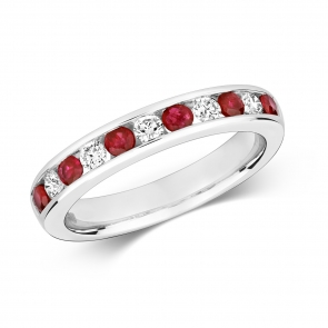 Ruby & Diamond Half Eternity Ring 0.69ct, 9k White Gold