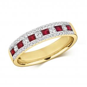 Ruby & Diamond Half Eternity Ring 0.74ct, 9k Gold