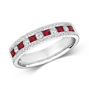 Ruby & Diamond Half Eternity Ring 0.74ct, 9k White Gold
