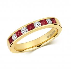 Ruby & Diamond Half Eternity Ring 0.85ct, 9k Gold