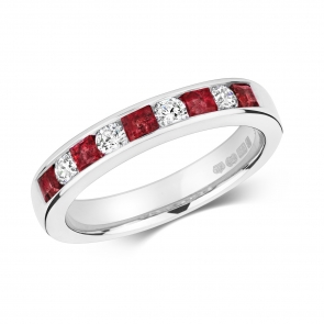 Ruby & Diamond Half Eternity Ring 0.85ct, 9k White Gold