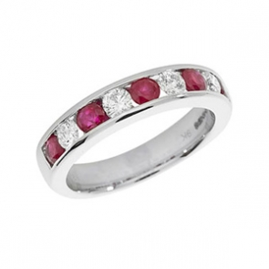 Ruby & Diamond Half Eternity Ring 1.37ct, 9k White Gold