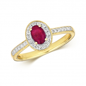 Ruby & Diamond Oval Ring 0.82ct, 9k Gold