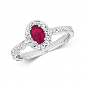 Ruby & Diamond Oval Ring 0.82ct, 9k White Gold