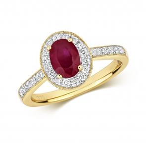 Ruby & Diamond Oval Ring 1.28ct, 9k Gold