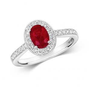 Ruby & Diamond Oval Ring 1.28ct, 9k White Gold