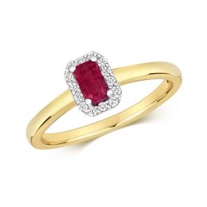 Ruby & Diamond Ring, Emerald Cut 0.47ct, 9k Gold