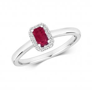 Ruby & Diamond Ring, Emerald Cut 0.47ct, 9k White Gold