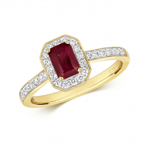 Ruby Ring with Diamond surround, 0.94ct, 9k Gold