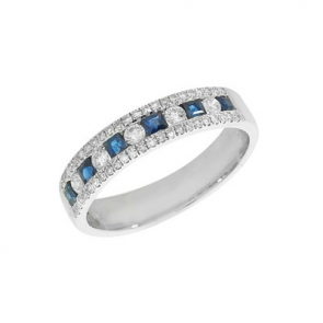 Sapphire & Diamond Half Eternity Ring 0.71ct, 18k White Gold