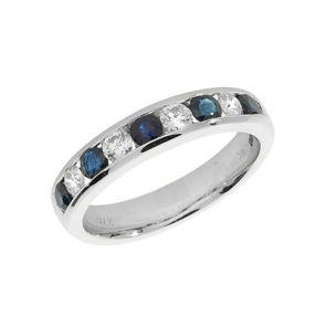 Sapphire & Diamond Half Eternity Ring 1.09ct, 9k White Gold