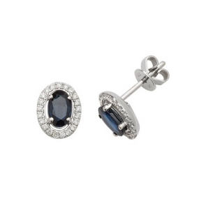 Sapphire & Diamond Oval Halo Earrings, 9k White Gold