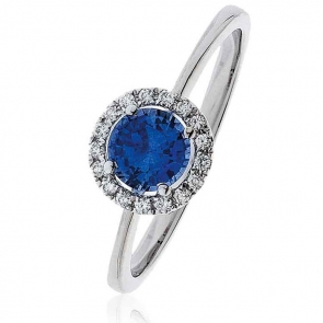 Sapphire Ring With Diamond Halo 0.75ct, 18k White Gold